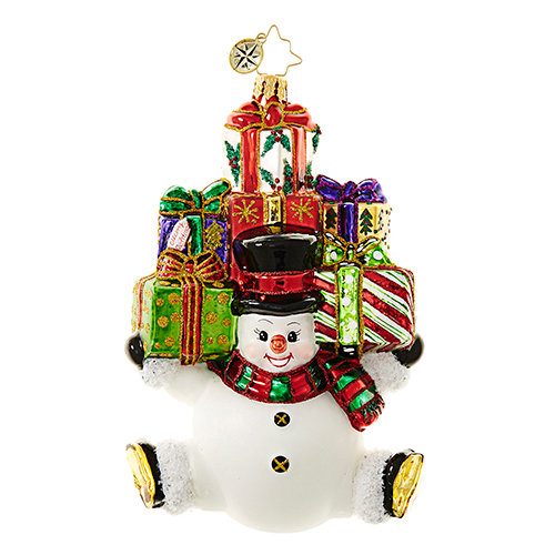 "Christopher Radko Glass Ornament - ""Snow Stacked Gifts"""