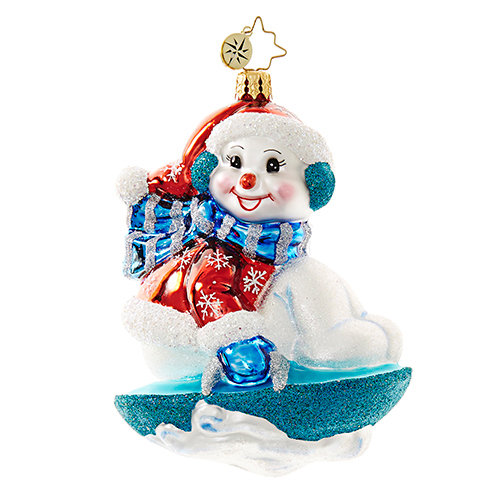 "Christopher Radko Glass Ornament - ""Snowy Saucer"""