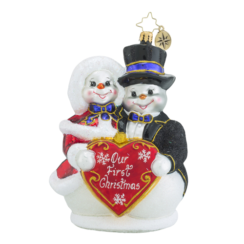 "Christopher Radko Glass Ornament - ""Snowy Sweethearts"""