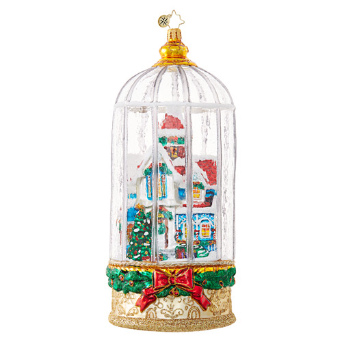 Christopher Radko Glass Ornament - Snowy Victorian Cage Ltd Ed.