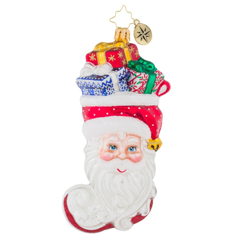 Christopher Radko Glass Ornament - Stuffed Santa 2018