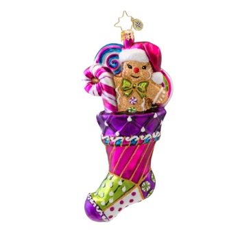 "Christopher Radko Glass Ornament - ""Sugary Sock"""
