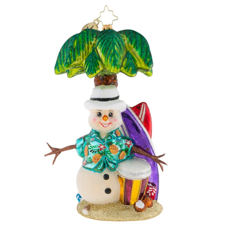 Christopher Radko Glass Ornament - Surf's Up Snowman 2018