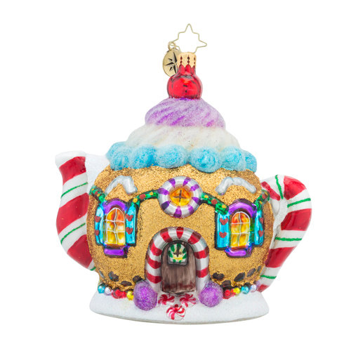 "Christopher Radko Glass Ornament - ""Sweet Tea Gingerbread Teapot"""