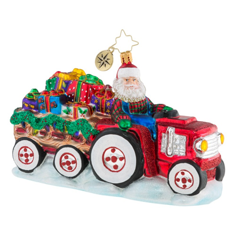 Christopher Radko Glass Ornament - Tractor-O-Toys 2018
