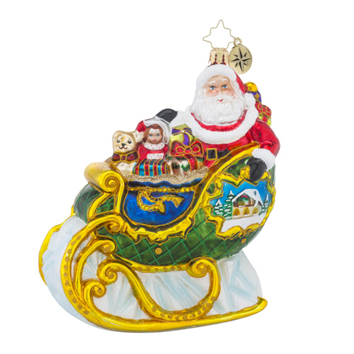 "Christopher Radko Glass Ornament - ""Village Sleigh Ride"""