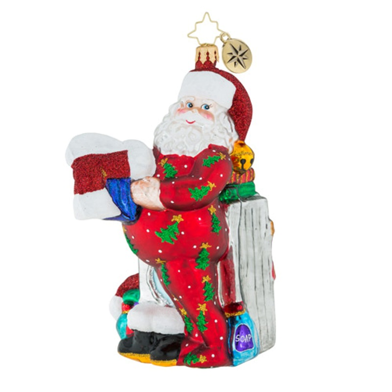 Christopher Radko Glass Ornament - Wash And Wear Santa 2018