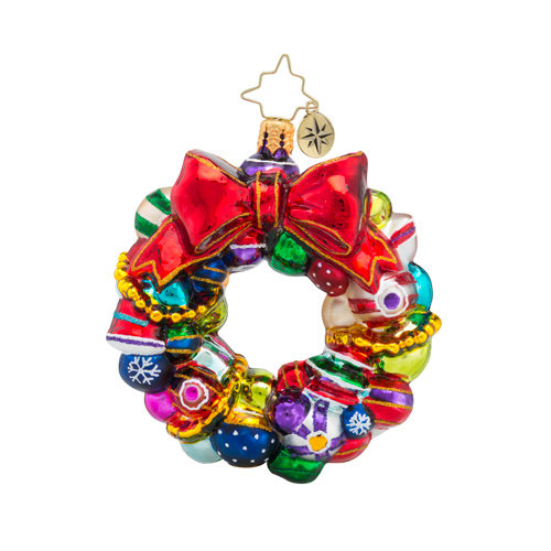 Christopher Radko Glass Ornament Gem - Joyful Wreath