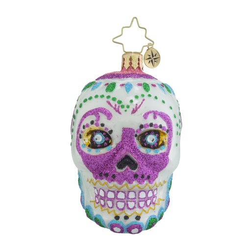 "Christopher Radko Little Gem Glass Ornament - ""La Calavera White Gem"""