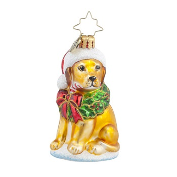 "Christopher Radko Little Gem Glass Ornament - ""Labrador Lucky Golden Gem"""