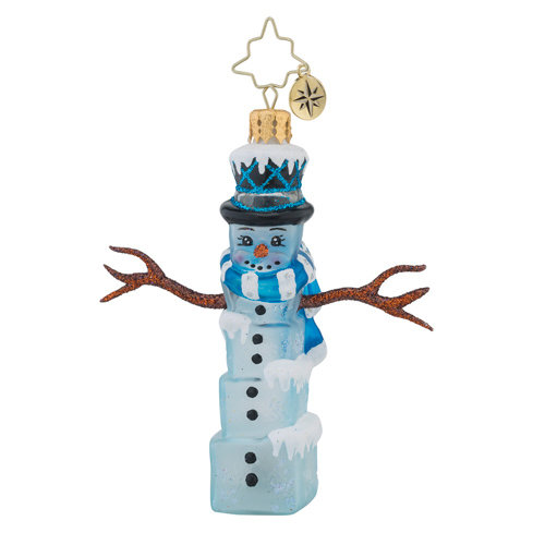 Christopher Radko Glass Ornament Gem - Mr. Frosty Cubes