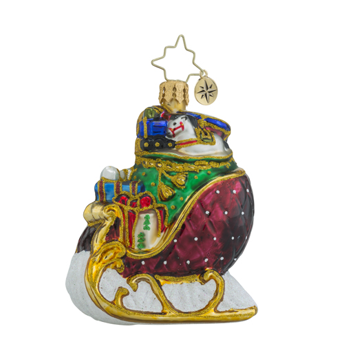 "Christopher Radko Little Gem Glass Ornament - ""Ruby Sleigh Ride Gem"""