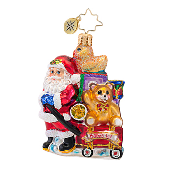 "Christopher Radko Little Gem Glass Ornament - ""Showered with Toys Gem"""