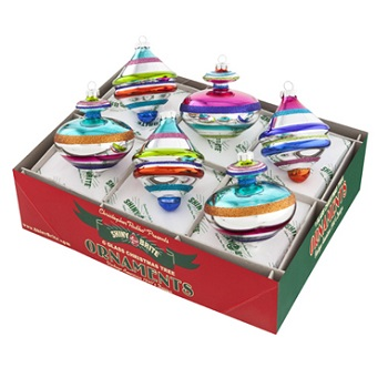"""Christopher Radko Shiny Brite Ornaments - """"Christmas Brights Decorated Shapes Ornaments"""" - Set of 6"""