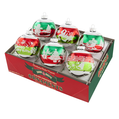 "Christopher Radko Shiny Brite Ornaments - ""Holiday Splendor 3.25"" Signature Flocked Rounds Two-Tone"" - Set of 6"