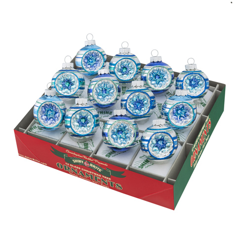 """Christopher Radko Shiny Brite Ornaments - """"Winter Frost Round Ornaments With Reflectors"""" -  Set of 12"""
