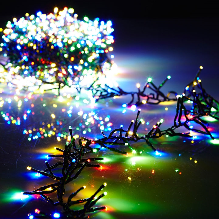 cluster garland lights 600 multicolor led lights green wire 19ft