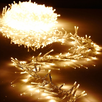 Cluster Garland Lights - 600 Warm White LED Lights - Clear Wire - 19ft