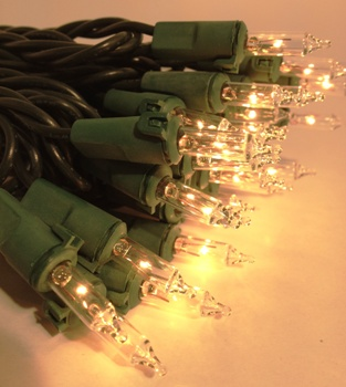 Mini Christmas Lights - Warm White - Electric/Green Cord - Commercial Grade - Set/50