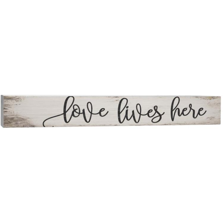 "Decorative Barnhouse Block Sign - ""Love Lives Here"""