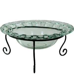 "Decorative Bowl - ""Eyelet Bowl & Metal Stand"" - 44oz."