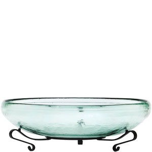 "Decorative Bowl - ""Glass Bowl & Metal Stand"" - 29oz."