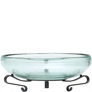 "Decorative Bowl - ""Glass Bowl & Metal Stand"" - 54oz."