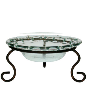 "Decorative Bowl - ""Eyelet Bowl & Metal Stand"" - 15oz."
