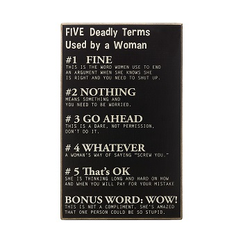 "Decorative Box Sign - ""Five Deadly Terms Used By A Woman... Box Sign"""