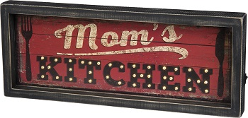 "Decorative Box Sign With Lights - ""Mom's Kitchen... Box Sign"""