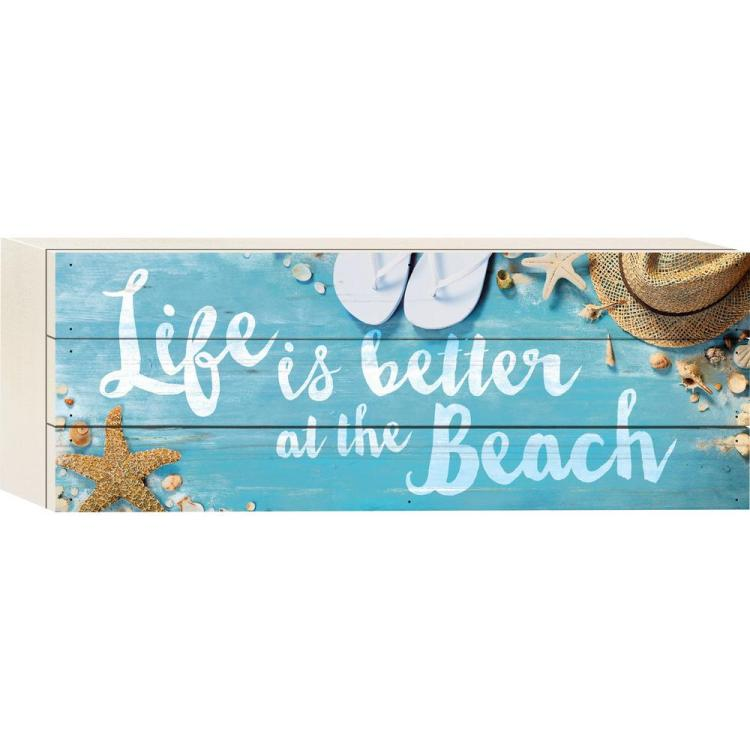 "Decorative Boxed Pallet Sign - ""Better At The Beach"""