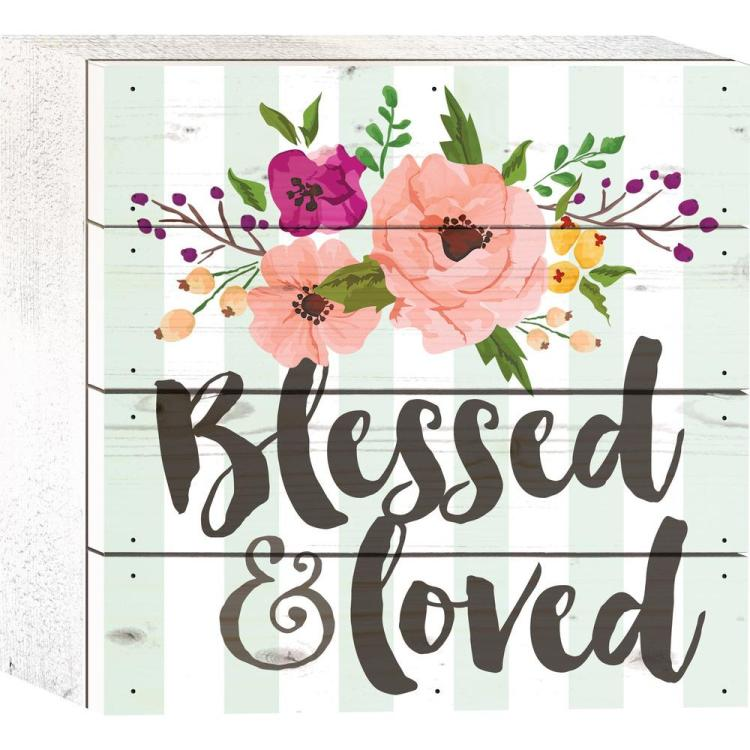 "Decorative Boxed Pallet Sign - ""Blessed & Loved"""
