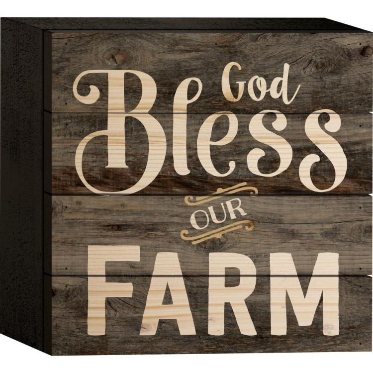 "Decorative Boxed Pallet Sign - ""God Bless Our Farm"""