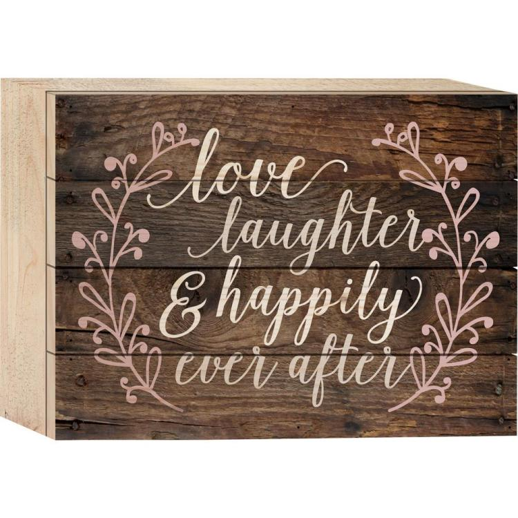 "Decorative Boxed Pallet Sign - ""Love, Laughter"""
