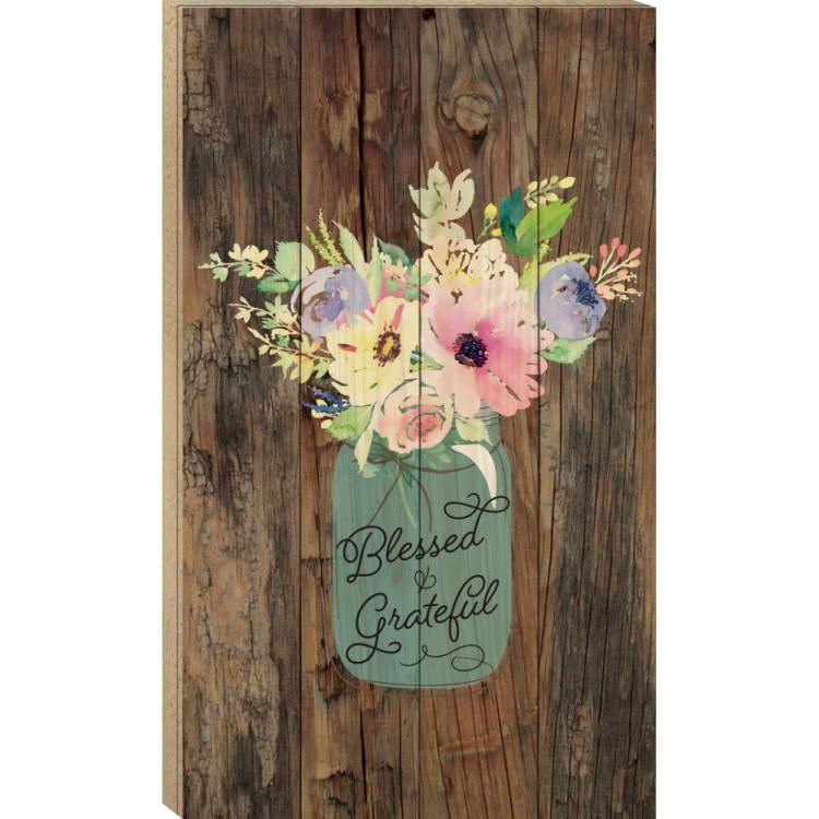 "Decorative Boxed Pallet Wall Sign - ""Blessed & Grateful"""