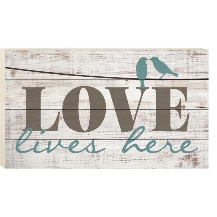 Decorative Boxed Pallet Wall Sign - Love Lives Here - Whitewash - 24in X 14in