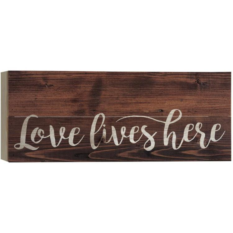 Decorative Boxed Pallet Wall Sign - Love Lives Here - Stained - 17in X 7in