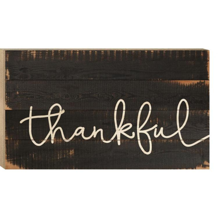 "Decorative Boxed Pallet Wall Sign - ""Thankful"""