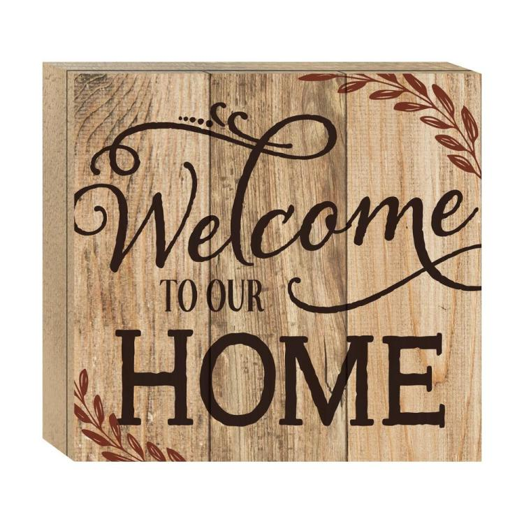 "Decorative Boxed Pallet Wall Sign - ""Welcome To Our Home"""