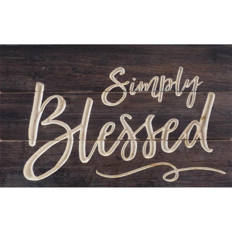 "Decorative Carved Calligraphy Wall Sign - ""Simply Blessed"""