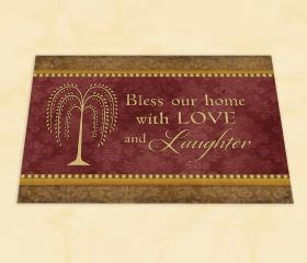 """Decorative Door Mat - """"Bless our Home with LOVE & Laughter"""" -  Original Crossroads Design"""""""