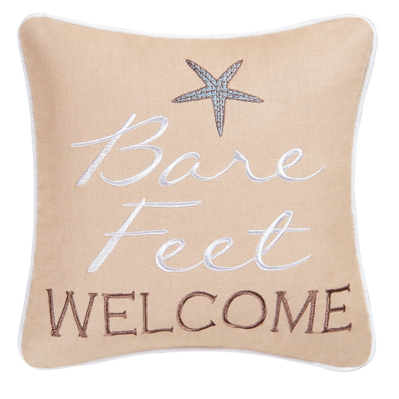 Decorative Embroidered Pillow - Bare Feet Welcome - 10in