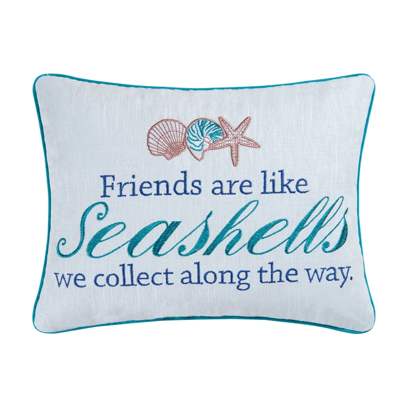 Decorative Embroidered Pillow - Friends Are Like Seashells - 16in