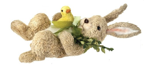 "Decorative Figurine - ""Bunny With Duckling Laying"""