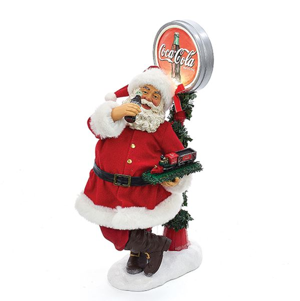 "Decorative Santa Figurine - ""Coca-Cola Santa with LED Light-up Coke Sign Table"" - 14in"