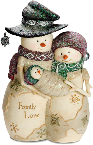 "Decorative Figurine - ""Family Love Snowman"""