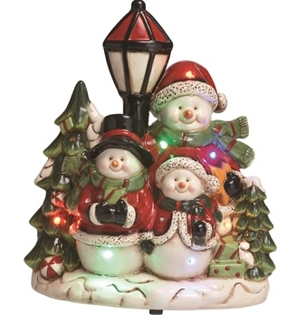 "Decorative Figurine - ""LED Snowmen Family Figurine With Music"""