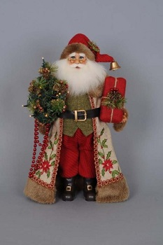 Karen Didion Santa - 16in - Lighted Woodland Embroidery Santa