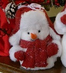 "Decorative Figurine - ""Red Cap Snowman"" - Small 7"""