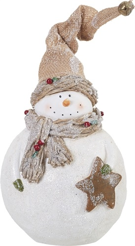 "Decorative Figurine - ""Rustic Glitter Snowman"" 12"""